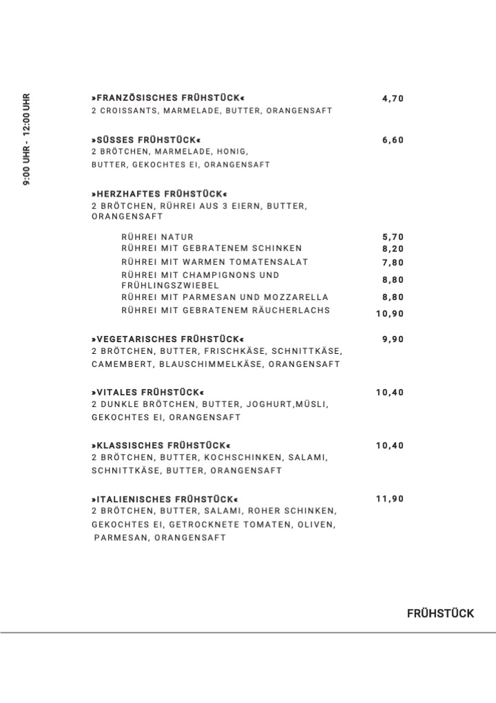 Frühstückskarte Cafe Mittendrin